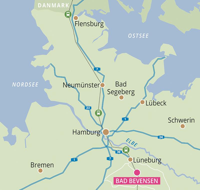 Karte mit Anreise aus Dänemark