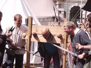 Pranger auf dem Mittelaltermarkt
