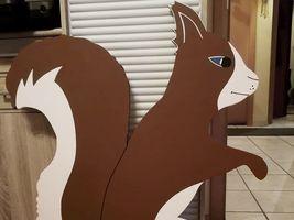 Hans-Hermann-Kunstaktion: das Eichhörnchen als Malerhörnchen