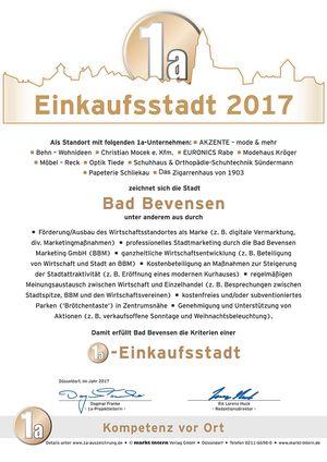 1a-Einkaufsstadt Bad Bevensen - Urkunde